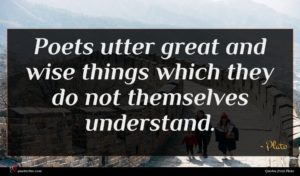 Plato quote : Poets utter great and ...
