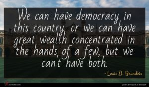 Louis D. Brandeis quote : We can have democracy ...
