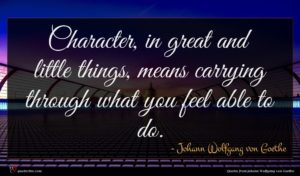 Johann Wolfgang von Goethe quote : Character in great and ...