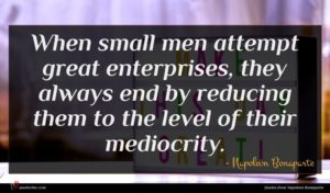 Napoleon Bonaparte quote : When small men attempt ...