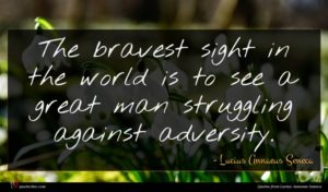 Lucius Annaeus Seneca quote : The bravest sight in ...
