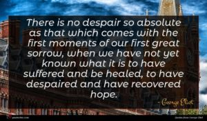 George Eliot quote : There is no despair ...