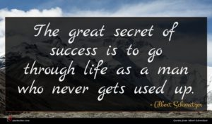 Albert Schweitzer quote : The great secret of ...