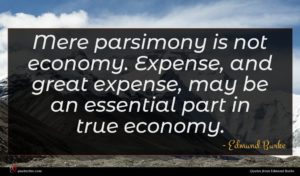 Edmund Burke quote : Mere parsimony is not ...