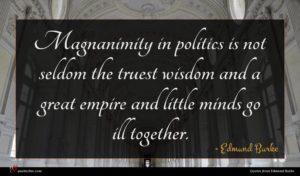 Edmund Burke quote : Magnanimity in politics is ...