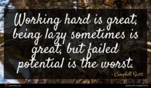 Campbell Scott quote : Working hard is great ...