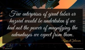 Samuel Johnson quote : Few enterprises of great ...