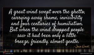 Jean Genet quote : A great wind swept ...