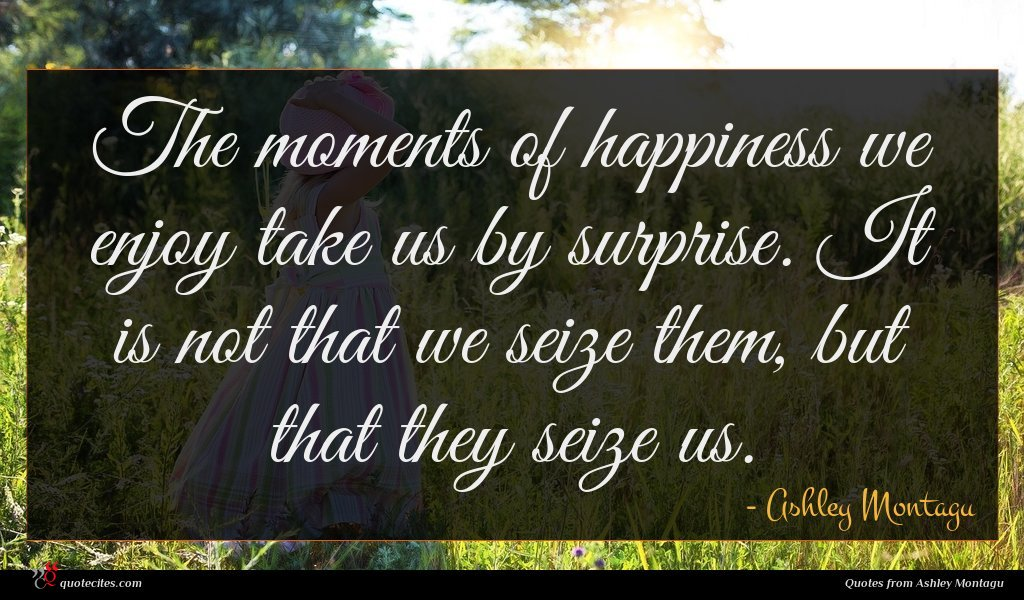 The moments of happiness we enjoy take us by surprise. It is not that we seize them, but that they seize us.