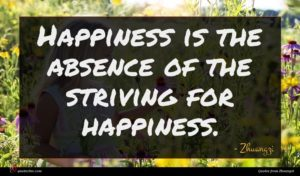 Zhuangzi quote : Happiness is the absence ...