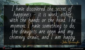 John Burroughs quote : I have discovered the ...