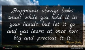 Maxim Gorky quote : Happiness always looks small ...