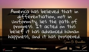 Louis D. Brandeis quote : America has believed that ...