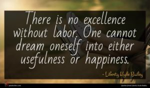 Liberty Hyde Bailey quote : There is no excellence ...