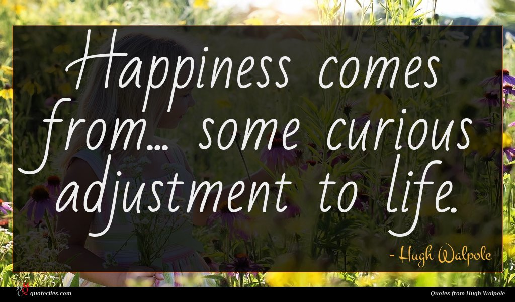 Happiness comes from... some curious adjustment to life.