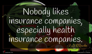 P. J. O'Rourke quote : Nobody likes insurance companies ...
