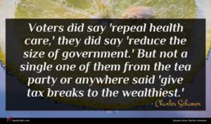 Charles Schumer quote : Voters did say 'repeal ...