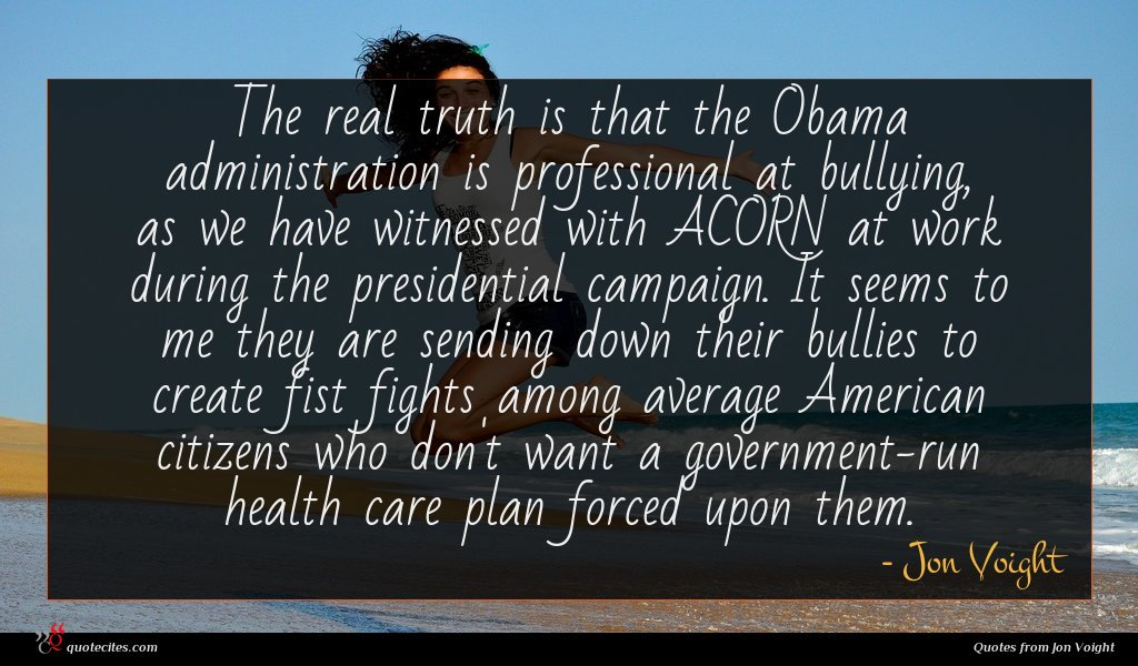 The real truth is that the Obama administration is professional at bullying, as we have witnessed with ACORN at work during the presidential campaign. It seems to me they are sending down their bullies to create fist fights among average American citizens who don't want a government-run health care plan forced upon them.