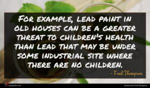 Fred Thompson quote : For example lead paint ...