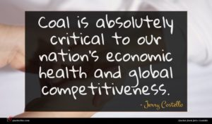 Jerry Costello quote : Coal is absolutely critical ...