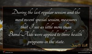 Jane D. Hull quote : During the last regular ...