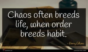 Henry Adams quote : Chaos often breeds life ...
