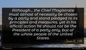 James K. Polk quote : Although the Chief Magistrate ...