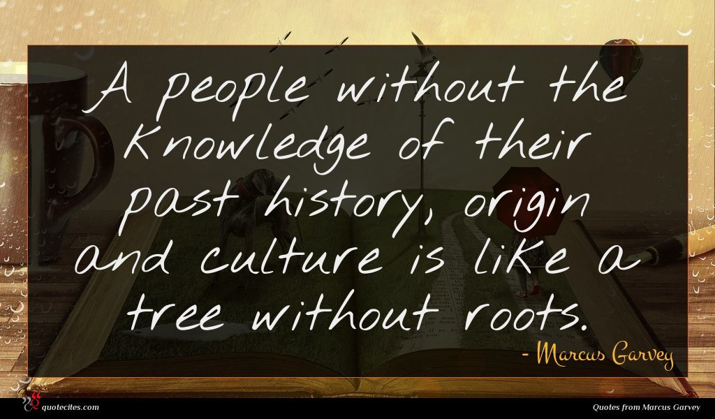 A people without the knowledge of their past history, origin and culture is like a tree without roots.