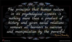 Noam Chomsky quote : The principle that human ...