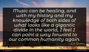 Cat Stevens quote : Music can be healing ...