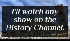 Rick Springfield quote : I'll watch any show ...