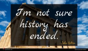 John Bolton quote : I'm not sure history ...