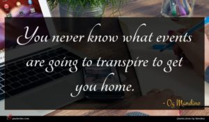 Og Mandino quote : You never know what ...