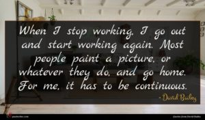 David Bailey quote : When I stop working ...