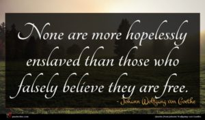 Johann Wolfgang von Goethe quote : None are more hopelessly ...