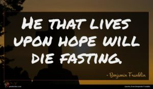Benjamin Franklin quote : He that lives upon ...