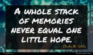 Charles M. Schulz quote : A whole stack of ...