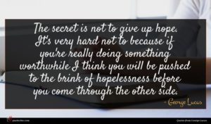 George Lucas quote : The secret is not ...