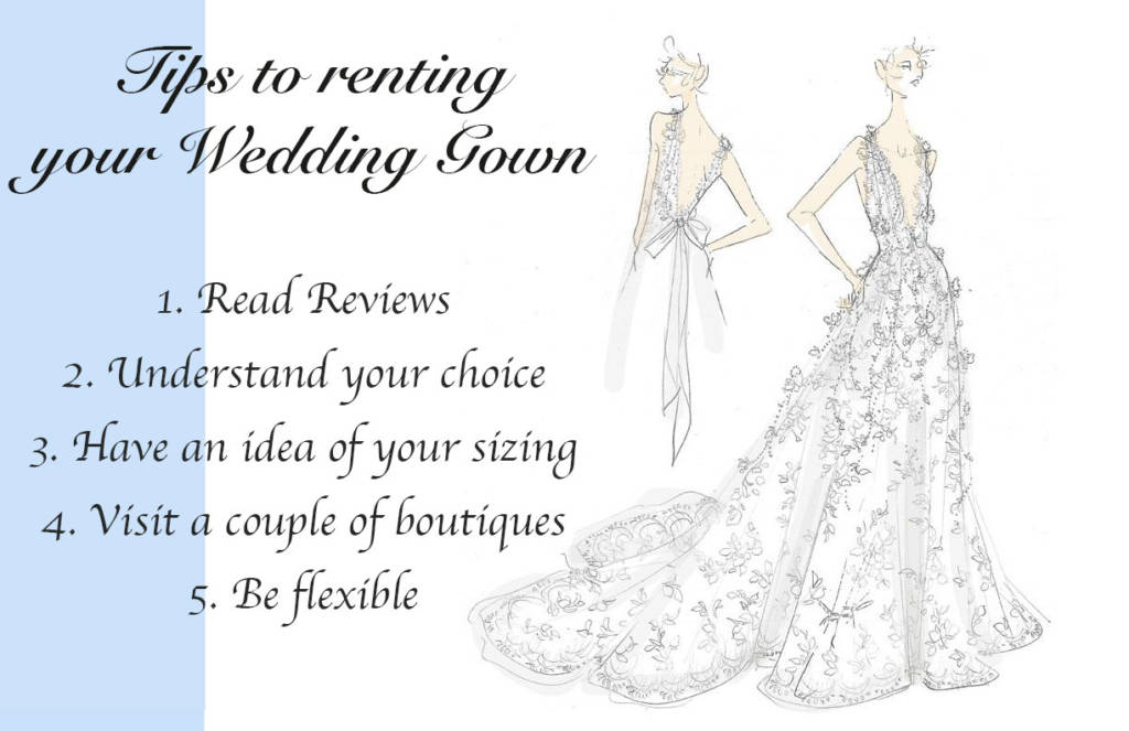 Tips to renting you wedding gown - sketch by Marchesa